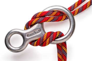 Mountaineering: figure 8 descender with clipping path