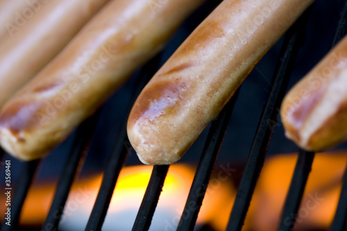 summer bbq staple hotdogs on the grill