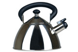 New and brilliant metal teapot on a white background poster