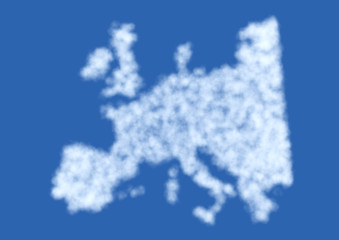 Europe map in clouds smoke