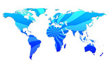 blue shaded world map with burst motive  poster