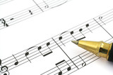 close-up of music note and ballpoint pen tip poster