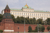 Russia, city Moscow, Kremlin wall and house poster