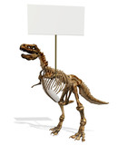 T-Rex Skeleton with Blank Sign poster