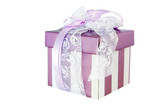 Fancy striped mauve gift box, with lace and satin ribbons. poster