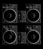 2 turntables and a mixer, black background, 2 versions