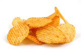 Pile of spicy potato chips poster