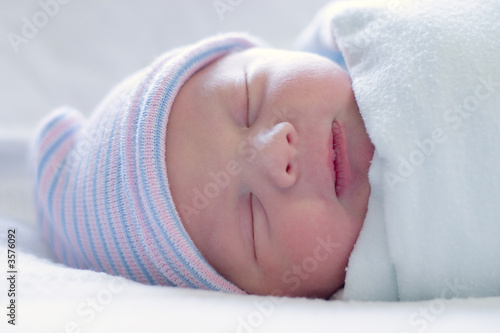 Close-up image of a one-day old baby boy