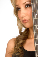 Attractive Hispanic blonde Girl with guitar (portrait)