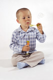 Little boy and soap-bubble poster