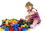 Young girl playing with blocks poster