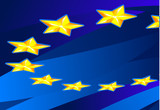 Perspective Flag of European Union. poster
