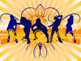 Hip-Hop Dancing Girls Silhouette on City Background.  poster