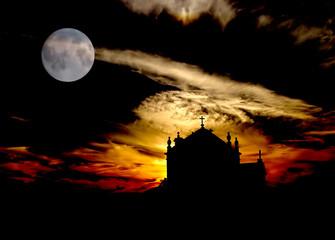 church at the beach with full moon