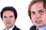 two young business man close up portrait
