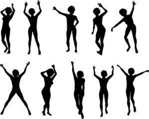 10 Female Dance poses (Vector)