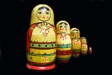 Old russian famous collapsible dolls, named matreshki