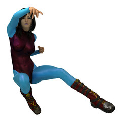 Flying Kick, Female Comic Character.