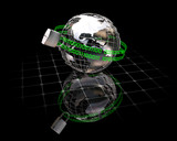3D rendered conceptual image depicting internet security poster