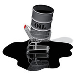 Expensive energry crisis: oil drum, shopping cart, oil spill.  poster