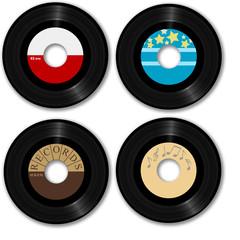 Retro 45 RPM record: with sample designs, clipping path.