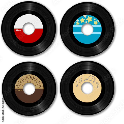 Retro 45 RPM record: with sample designs, clipping path.
