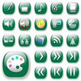 Shiny icons. Green Digital Art, Media & Communication Set. poster