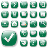 Shiny button icons. The green website navigation collection. poster