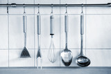 Cooking battery. Five kitchen objects in a row. poster