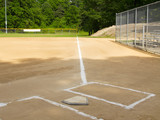 Home plate and first base foul line on a small-town ball diamond poster