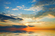 A Colorful clouds. Sunset over the sea.