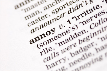 The word annoy written in thesaurus