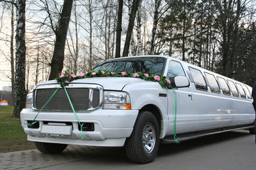 transportation wedding limousine white luxury long car