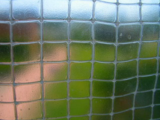 The fragment of sandy road and the lawn behind the plastic net