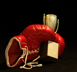 red boxing glove holding a shining cup, closeup