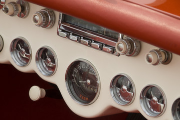 Close up detail of a classic car at a car show