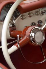 Close up detail of a classic car at a car show
