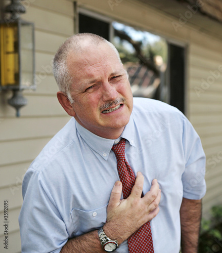 A mature businessman with severe chest pain.