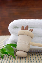 wood hammer before towel for body care