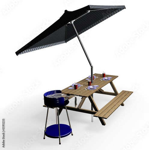 poster of 3D render of barbecue items
