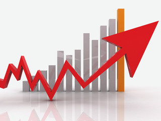Red arrow on business graph