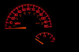 A red speedometer and gas gauge on an automobile dashboard. poster