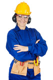 Lady construction worker a over white background with notepad poster