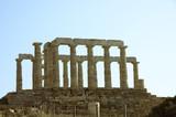 Greek temple  of Poseidon  449 B.C   in Cape Sounion , Greece poster