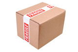 Cardboard box secured with fragile tape ready for despatch poster