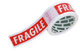 Roll of fragile tape isolated on white  poster