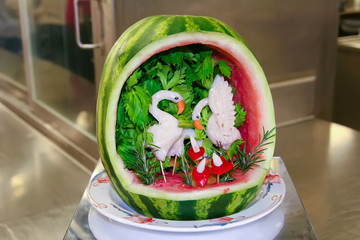 Fruit Carving of birds in a watermelon