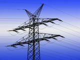 Electricity pylon overlaid with blue lighting effect poster