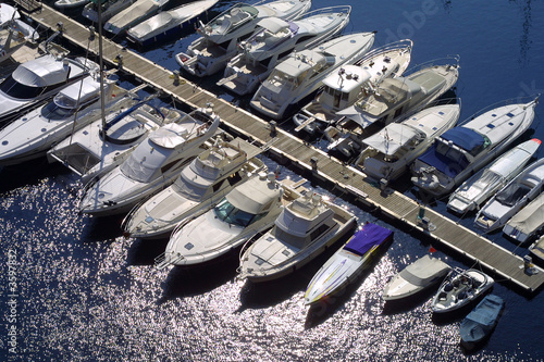 Collection of luxury boats moored in Monaco marina. - 3597832