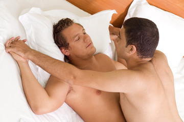 A homosexual couple having sex on the bed